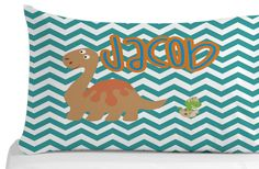 Dinosaur Pillow Case Chevron Pattern Pillow by Kids Pillows, Animal Pillows, Kids Bedroom, Bedroom Decor, Personalized Pillow Cases, Animals For Kids, Chevron, Pillow Covers, Birthday Gifts