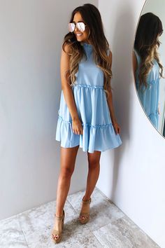 Share to save 10% on your order instantly! Ruffle Time Dress: Baby Blue