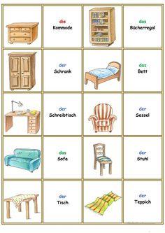 Games in German lessons: Memory – the furniture and furnishings - Deutschunterricht German Grammar, German Words, Learning Italian, Learning Spanish, Spanish Activities, Learn German, Learn French, French Lessons, Spanish Lessons