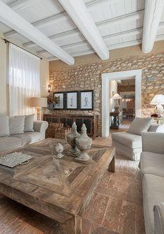 Home Design, Home Interior Design, Rustic House Design, Modern Design, Living Room Decor, Living Spaces, Country Chic Decor, Italian Home, Stone Houses