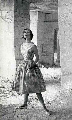1950s gingham dress #vintage