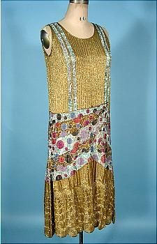 "c. 1926 Gold Beaded Flapper Dress with Incredible Sequined ""Bubbles"" on Cotton Netting! Likely French Couture!  This is one of those incredible flapper beaded and sequin dresses that you can't believe doesn't have a label.  Jean Patou?  Lanvin?  Someone who was totally confident in their design abilities as this is ""wild"" both in design and in the types of beads and sequins used... various colored spotted sequins, and the finest glass beads."