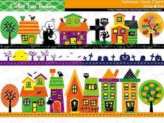 Halloween House Clipart  Haunted Houses Digital by CeliaLauDesigns