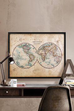 Globe tan map world map canvas vintage map set large wall art world map vintage map art print grunge vintage art poster art gumiabroncs Image collections