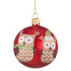 Weihnachtswelt Kugel rot mit Eulen Christmas World, Christmas Bulbs, Holiday Decor, Home Decor, Glass Ball, Childhood, Red, Decoration Home, Christmas Light Bulbs