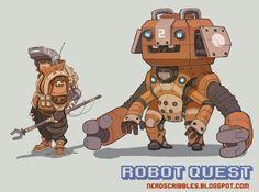 Robot Quest Concept by *Nerd-Scribbles on deviantART ✤ || CHARACTER DESIGN REFERENCES | キャラクターデザイン | çizgi film • Find more at https://www.facebook.com/CharacterDesignReferences if you're looking for: #grinisti #komiks #banda #desenhada #komik #nakakatawa #dessin #anime #komisch #drawing #manga #bande #dessinee #BD #historieta #sketch #strip #artist #fumetto #settei #fumetti #manhwa #koominen #cartoni #animati #comic #komikus #komikss #cartoon || ✤