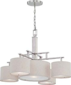 Nuvo 60/4885 Percussion Brushed Nickel Five Light Chandelier by Nuvo. $240.13. Percussion brushed nickel five light chandelier with beige linen fabric shade and frosted diffuser. (5) 60-Watt A19 medium base bulbs not included.. Save 27% Off!