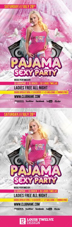 Pajama Sexy Party Flyer Template Louis Twelve, club, creative, deluxe, feather, flyer, fuscia, girl, jam, lingerie, luxury, music, night, pajama, party, pillow talk, poster, psd, sexy, summer, vip, white, Pajama Sexy Party Flyer Template