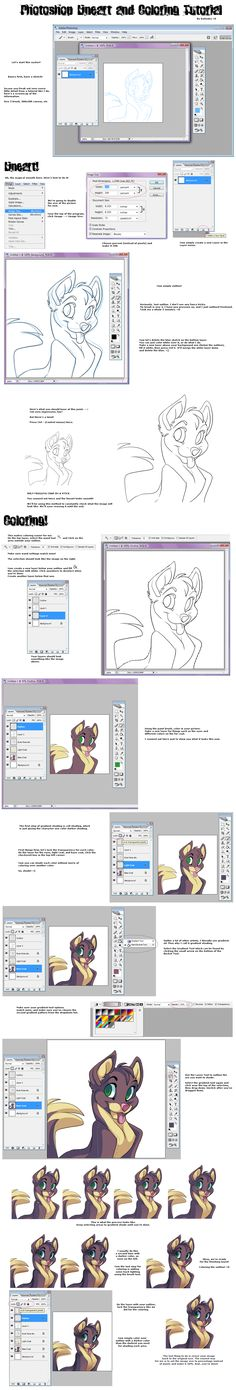 Photoshop Lineart-Coloring Tut by =Kuitsuku on deviantART