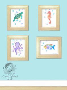 Sea Turtle art print . Under the sea nursery. Ocean watercolor