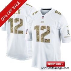 $129.99 Men's Nike Indianapolis Colts #12 Andrew Luck Elite Salute to Service NFL 30th Seasons Patch White Jersey