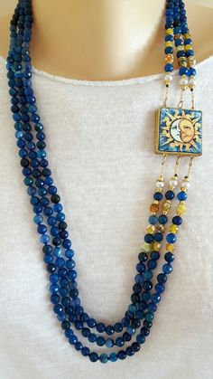 Collana mattonella  ceramica Caltagirone, collana 3 fili agata blu  in Orologi e gioielli, Bigiotteria, Collane e pendagli | eBay Ceramic Jewelry, Wire Jewelry, Boho Jewelry, Jewelery, Jewelry Necklaces, Beaded Necklace, Jewelry Design, Fashion Jewelry, Unique Jewelry