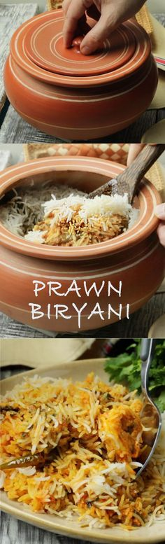 We ❤ this flavorful biryani! Delicious prawn biryani layered and cooked on dum - specially for seafood lovers! Veg Recipes, Indian Food Recipes, Chicken Recipes, Cooking Recipes, Curry Recipes, Keema Recipes, Recipies, Cooking Tips, Prawn Biryani Recipes