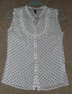 Ladies H M Sheer Sleeveless Blouse Top Size 6 Small s Polka Dot Navy Blue Ivory | eBay