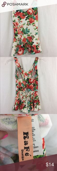 Floral peplum top Spandex and rayon. Size medium Tops