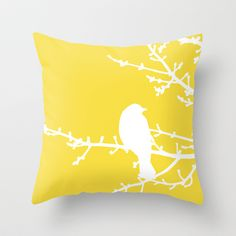 Yellow Bird - Modern Throw Pillow by Aldari Art Studio -Perfect on the bed with aqua blue and gray...