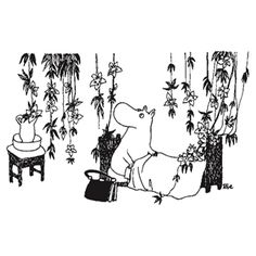 Moominmamma's bedroom with flowering vines courtesy of the Hobgoblin's hat.