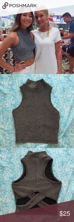 Akira Sparkly Crop Worn once in Cancun and in perfect condition. AKIRA Tops Crop Tops