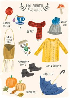 My Autumn Essentials print, pattern. Lisa Barlow