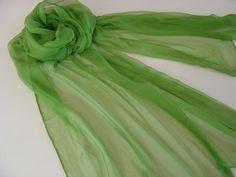 Seidenschal 180x55cm minzgrün Chiffonschal Stola von Textilkreativhof auf DaWanda.com