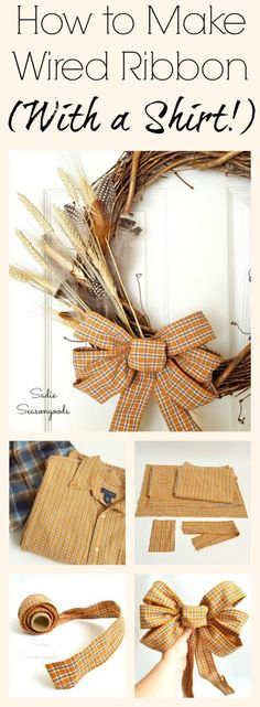 Repurposing flannel and plaid men's shirts from the thrift store is so trendy right now! So I decided to challenge myself by making my own wired ribbon from plaid shirt fabric and you know what? It's easier than you think and looks fantastic! This is perfect for a rustic, country, farmhouse style autumn wreath...just perfect for Fall. What a fun seasonal upcycle from #SadieSeasongoods / www.sadieseasongoods.com