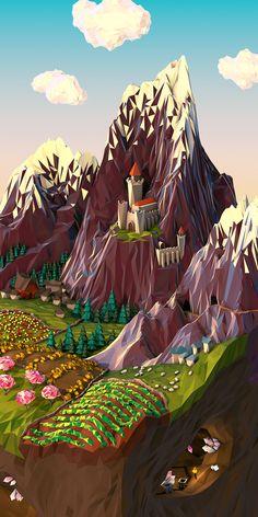 Low Poly Landscape Geometric Landscape Illustrations by JR Schmidt Art And Illustration, Illustrations Posters, Schmidt, Art Environnemental, Polygon Art, 3d Artwork, 3d Artist, Wireframe, Environmental Art