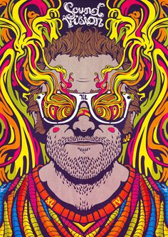 """Taylor Crisdale ilustrador. """"SOUND VISION"""" Un autorretrato que representa el movimiento de los sonidos y sentimientos, así como los colores que los acompañan. Completado por 44a Depthcore del capítulo """"ECOS"""". http://www.taylorcrisdale.com/"""
