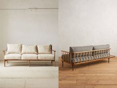 Fine beige sofa with a little extra on the legs, as one likes of Urban Outfitters. The right is from Anthropoligie and called Kalmar, which was fine. Perfect if you want to put the sofa in the middle of the room when it's this nice behind.