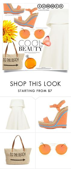 """To the beach"" by fantasticbabe ❤ liked on Polyvore featuring Elizabeth and James, Christian Louboutin, Straw Studios and Hermès"
