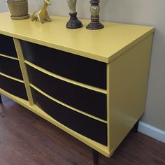 Stunning MCM Dresser by Basset Furniture  Mid century modern in Somerset Gold milk paint. Has 6 drawer stained in Java Gel  It can be used as a dresser, media console, sideboard buffet or entryway table.