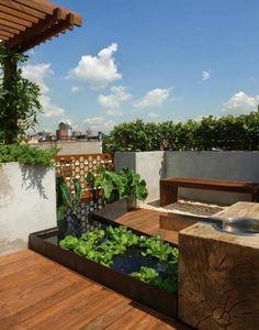 fontaine pour bassin, un jardin sur toit spectaculaire