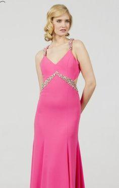 Embellished V Neckline Crepe Gown by Saboroma 99885