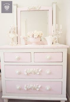 romantic shabby chic pink and cream dresser www.facebook.com/luvmystuffhappyhome www.luvmystuff.com.au furniture appliques and sugar paint