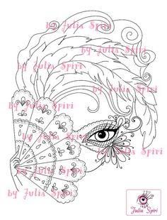 Digital Stamps Digi stamp Coloring pages Mask Girl by JuliaSpiri