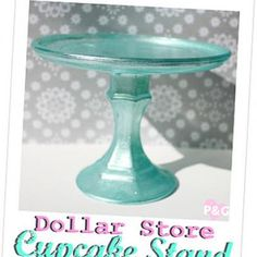 DIY cupcake stands: trays and candlesticks (from the dollar store) painted and glued together.  Mine will be all white!