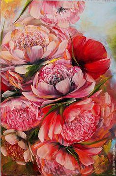 Купить Картина маслом Пионы в саду - картина, картина в гостиную, картина в подарок, прованс