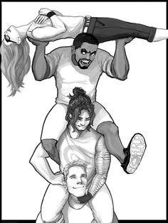 Steve, Sam, Bucky, Nat silliness fanart by silentwalrus1