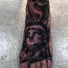 3D Statue Of Liberty Portrait Foot Tattoo For Men
