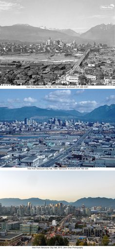 "This week's ""Then and Now"" collage includes photos that have all been taken from City Hall, in the 1940s, 1960s, and 2015."
