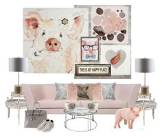 """Happy As A Pig and The Nest Sofa..."" by kimberlyd-2 ❤ liked on Polyvore featuring interior, interiors, interior design, home, home decor, interior decorating, York Wallcoverings, Pier 1 Imports, Oliver Gal Artist Co. and Poncho & Goldstein"
