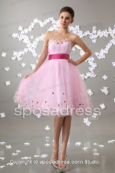 Pink Short Princess Sweetheart Knee Length Sequined Cocktail Dress