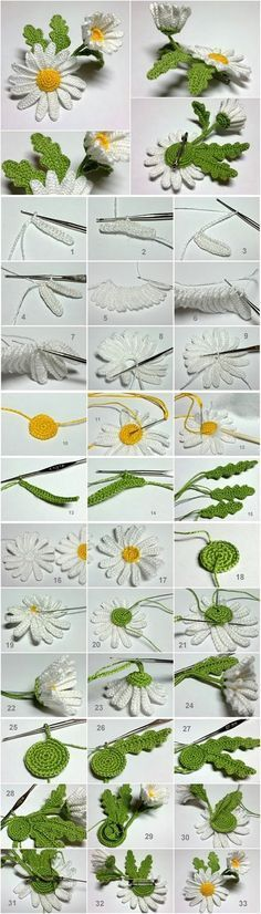 """crochet websites free pattern: Learn how to make a beautiful daisy crochet patterns free [   """"crochet daisy M Wonderful DIY Crochet Daisy Flower"""",   """"Crochet daisy - I love these photo tutorials."""",   """"These delicate patterns free crochet flowers are very beautiful daisies, and super simple to make. By the way, I"""