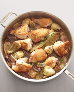 "Chicken, Fennel & Artichoke Fricassee. Sounds good but mainly want to make something that has the word ""FRICASSEE"" in it. It makes me happy to say it...fricassee, fricassee, fricassee :)"