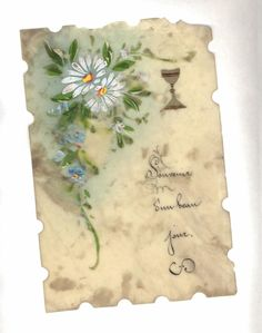 Carte celluloïd Souvenir d'un beau jour avec fleurs peintes coupe vers 1900