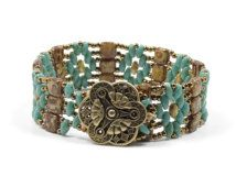 SUPER DUO TILE Bracelet - Ivory Picasso Tiles - Turquoise Picasso Super Duos - Antique Bronze Seed Beads - Two Hole Beads - Bronze Button