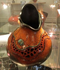 Turquoise inlay stained-glass gourd