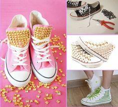 Aprende A Decorar Zapatos Con Telas-pedrería-tachuelas Y Más