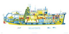 """""""The Belafonte Print"""" from Life Aquatic - 18"""" x 36"""" 4 color screen print on 100lb matte Bright White paper or 13"""" x 19""""Giclée print 
