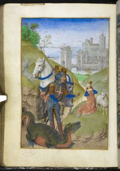 St George and a lizard-like dragon. Miniature from the Huth Hours, Netherlands, c. British Library: Add MS f. Medieval Dragon, Medieval Art, Renaissance Art, Medieval Books, Medieval Times, Medieval Manuscript, Illuminated Manuscript, Patron Saint Of England, Statues
