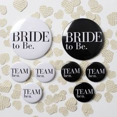 A gorgeous Hen Party or Bride to Be badge in our modern black & white design38mm Team Hen, or 76mm Bride to Be Badge availableThese classic black and white badges are the perfect addtion to your classy Hen Party. Available in either our 38mm Hen Party design, or 76mm Bride to Be design. The badge features a black or white background with a beautiful Vogue inspired font. Matching gift bags and tote bag are also available.plastic frontage, metal pin badge backing3.8cm or 7.6cm in Diameter